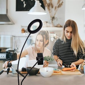 6 inch Live Fill Lights Desktop Clip Light 2835 Lamp Beads White Light Usb Connection Dimmable Selfie Ring Lighting with Phone Holder