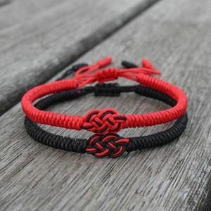 Lucky vermelho cordas pulseira amantes amizade trançada ajustável nó concêntrico casal braceletes para mulheres homens nacionais estilo jóias presente