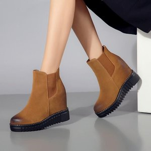 Platform Wedge Ankle Winter Shoes Women Boots High Quality Height Increasing Ladies Shoes Cow Suede Down Fashion Boot