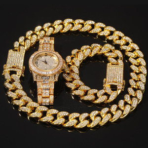 Hip Hop 3pcs Set Miami Cuban Chain Necklace +Bracelet +Watch Iced Out Paved Rhinestones CZ Rapper Necklaces For Men Ms Jewelry