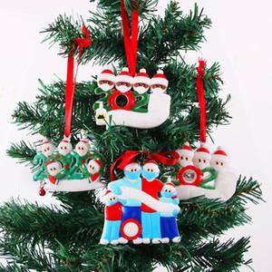 Christmas Personalized Ornaments Survivor Quarantine Family of 2 3 4 5 6 Mask Snowman Hand Sanitized Xmas Decorating Creative Pendant Toys