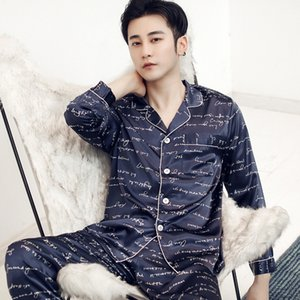 2020 High quality pajamas men: Spring Long sleeve imitation silk for youth: Autumn winter Home and summer ice Q1202