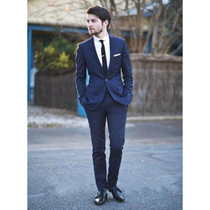 One Button Groom Tuxedos Notched Lapel Men Suits Groomsman Bridegroom Suits Custom Made A0194