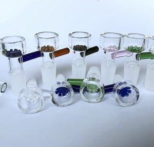 Kräuterschieberglasschüsseln 10mm 14mm 18mm mit Blume Schneeflocke Filterschale für Glasbongs und Aschefänger Glasraucherschüssel