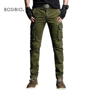 Bosibio Legergroen Cargo Hommes Nouvelle collection Style militaire Slim Fit Cats Homme Casual Broek Beaucoup de sacs 3708