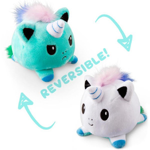 Gato Unicórnio Reversível Gato Crianças Soft Gift Plushie Polvo Animais de Pelúcia Dupla Face Boneca Dola Brinquedo Peluches para Girl Pulpos