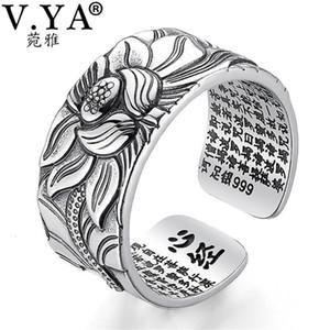 V. YA 100% Real 999 Pura Prata Jóias Lotus Flor Anel aberto para Homens Moda Grande Budista Coração Sutra Anéis Presentes
