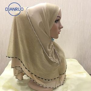 DIANRUO 70X60CM muslimisches Kopftuch mit Golddraht Frauen Solid Color Hijab Schal-Schal Wraps Hijab Femme Musulman Kopftuch N393
