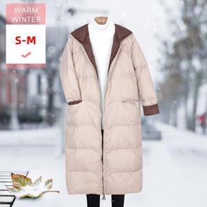 Mujer moda invierno largo blanco pato pato abajo femenino casual suelto suave cálido cuál de las plumas con capucha a prueba de viento de tamaño masculino más grande