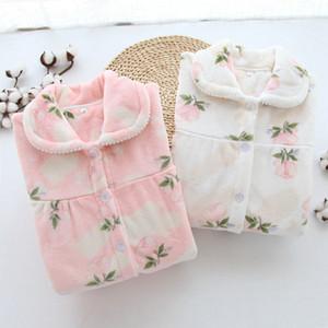 Winter Song franela fijaron a las mujeres de july pijama rosado de la flor del patrón caliente grueso pijama de la ropa de noche de 2 Piezas