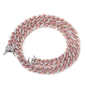 Hot sale 8mm micro inlaid pink CZ diamond color CZ diamond Cuban chain hip hop fashion brand bracelet custom