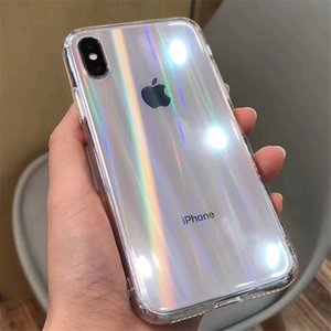 Gradient Rainbow Laser coque iphone 12 pro max phone cases iPhone X XS Max XR Transparent Soft Fundas for cover iPhone 11 XR Clear Acrylic