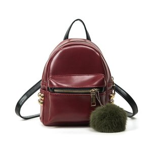Mini Backpack Small Women Satchel Fuzzy Ball Pu Leather Casual Retro Rivet Daily Rucksack