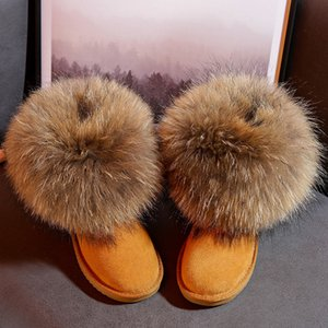 Genuine Leather Children's Shoes Kids Snow Boots Natural Big Fox Fur Cold Winter Boys Girls Warm Botas Baby Boots 201130