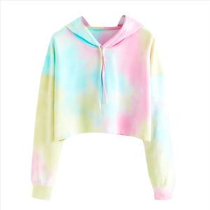 Hoodies Coat Casual Women Drawstring Hooded Sweatshirt Tie Dye Long Sleeve Hoodies Pullover Tops plus size S XXL