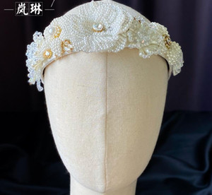 Korean Pearls Headband Flower Floral Crown Tiara For Wedding Bride Women Fashion Hair Accessories Jewelry Headdress Party Prom Headwear Gift