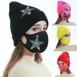 Bonnets d'hiver Casquettes avec masque facial Sport Tricot Cristal Party Chapeaux Épaissir Casual Casual Caps Casquettes HWA3219