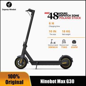 UE Ninebot STOCK Original by Segway MAX G30 inteligente Scooter elétrico dobrável 65 km Max Mileage KickScooter duplo freio skate G30P Com APP