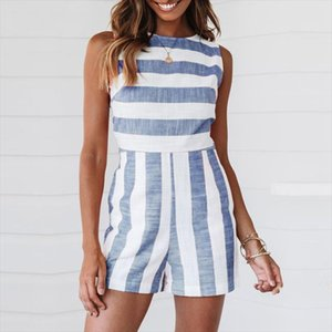 Casual Striped Playsuit Women Sleeveless Mini Jumpsuit Lady Short Remoper Femal 2019 Summer Fashion Vestidos Clothes