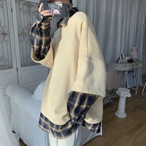 2020 Men's Two Paper Piece Coats Lattice Printing Tide Hoodies Cotton Clothes Casual Pullover Balck Apricot Color Sweatshirts Y1121