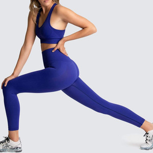 Womens Tracksuits Fitness two Piece Set 2 Workout Clothes Leggings Sports Bra long pant backless Exercise Clothing Bodybuilding Slim Suits