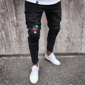 Men's Jeans Stretchy Ripped Skinny Biker Jeans Cartoon Pattern Destroyed Taped Slim Fit Black Denim Pants 2020 New