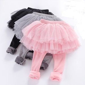 Baby girls Leisure Skirts Tights Pantyhose Solid color Plus velvet Tutu Mesh pants Cotton Pantskirt children Leggings Z1975