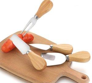 Couteau à fromage Ensemble de poignée de chêne Couteau Couteau Fork Shovel Kit Gratisser Gratuit Cheese Pizza Slicer Cutter Set BWF3380