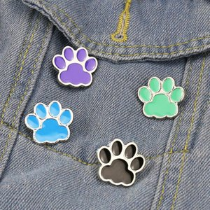 Cartoon Cute Dog Cat Paw Brooch Pins Set Funny Animal Paw Alloy Paint Brooches for Children Jewelry Gift Badge Shirt Pin