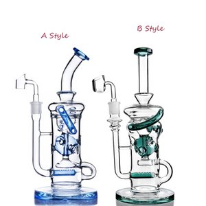 11.2 inchs Klein Recycler Oil Rigs Heady Glass Water Pipe Smoke Pipe Bubbler Ash Catcher Water Bongs Hookahs With 14mm banger
