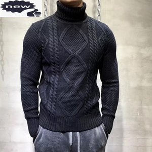 Autumn New Fashion Mens Turtleneck Sweater Jacquard Weave Knitted Tops Male Long Sleeve Slim Jumper Pullover Sweaters Knitwear