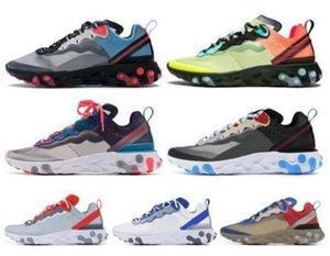 Üst Reaksiyon Öğe 87 55 Erkek Kadın Koşu Ayakkabıları Beyaz Siyah Yelken Kraliyet Tonu Çöl Kum Tasarımcısı Nefes Spor Sneaker Boyutu 36-45
