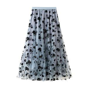 PERHAPS U Black Beige Blue Mesh Mid-calf Skirt Empire Summer Casual Floral Solid S0266