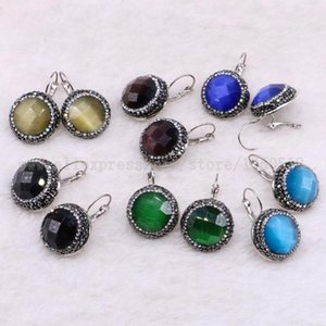10 pairs Natural cat eye stone earrings faceted round shape earrings druzy earring wholesale jewelry gem jewelry for women 3453