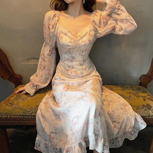 Luzuzi Floral Print Dress Women Sexy V Neck Puff Sleeve Dress Ladies Vestidos Summer 2021 Elegant Slim Waist Chiffon Dresses