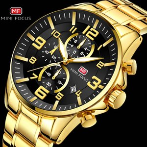 MINI FOCUS Gold Watch Men Mens Watches Chronograph Top Brand Luxury 2020 Quartz Calendar Waterproof Stainless Steel