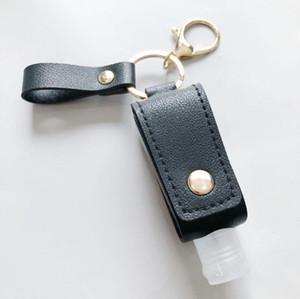 Portable Hand Sanitizer Holder Keychain 30ML PU Leather Keyring Travel Holder Leakproof Alcohol Bottle Cover Refillable Carriers DDF3062