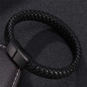 Punk Braclets Charm Black Man Bracciali Bracciali Strandini in pelle intrecciata in acciaio inox Cinturino magnetico Monili da donna
