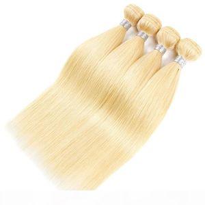 Big Discount Человеческие Remy Волосы Блондинка 613 Weave 3 Пакета Лот Двойной Уток Прямые Усилители Шейте в наращиваниях волос