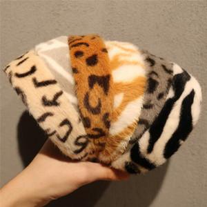 Womens Faux Fur Bandand Leopard Fuzzy Headwear Outdoor Warm Wide Hairband Winter Earwarmer Oearwarp Assomischino Accessori per capelli
