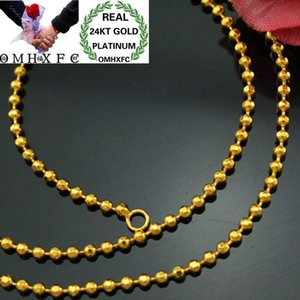 Chains MHXFC Wholesale European Fashion Woman Female Party Wedding Gift Long 45cm Wide 2.5mm Beads Real 24KT Gold Chain Necklace NL75