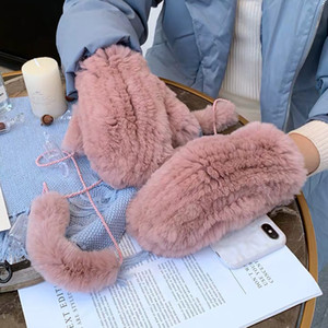 Women's Winter Real Rex Rabbit Fur Gloves Warm Thick Ladies Fur Mittens Elastic Girls Ski Glove Mitts Elastic Soft With String 201021