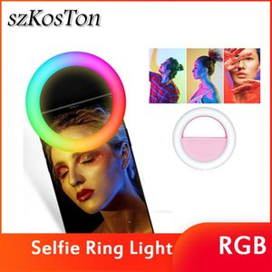 Clip LED RGB Selfie Ring Light Rechargeable Ringlight for Smart Phone Tablet Camera جولة الإضاءة الملونة ل YouTube Tiktok