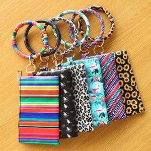 Fashion Leopard Print PU Leather Tassel Pendant Bracelet Ladies Leather Keychain Bracelet Wallet Mobile Phone Bag Kid Christmas Gift