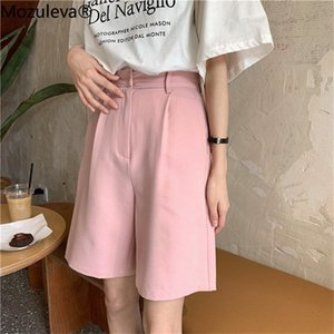 Mozuleva Hot Sale Fresh Leisure All Match Solid Women's Large Size High Waist Thin Loose Wide Leg Chic 2020 Casual Shorts
