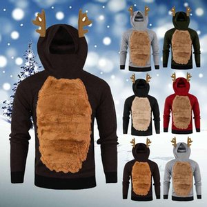 Erkekler Sonbahar Kazak Hoodies Kış Hoody Tüy Kapşonlu Noel 3D Mont Ceket Üst Eşofman Hoodie Sudaderas Erkek Giyim