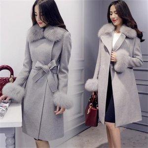 Alta calidad Otoño Invierno Women's Women Solid Slim Fashion Chaquetas Femeninas Jackets Damas imitación Fox Fur Fur Woolen Coat