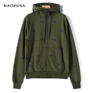 BIAORUINA Men's Korean Style Casual Elephant Printed Hoodies Fleece Liner Fashion Comfortabe Warm Hooded Sweatshirt with Zipper