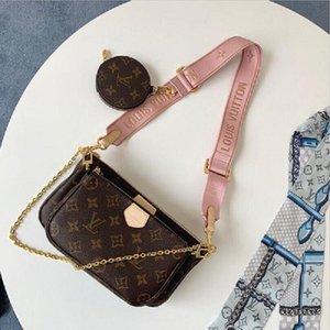 Yeni Kadın Favori Hakiki Deri Moda Çanta Çok Pochette Accessoires Çantalar Çiçek Mini Pochette 3 adet Crossbody Çanta Omuz Çantaları