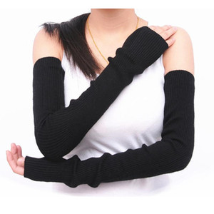 Cashmere Arm Sleeve Women Winter Lengthened Arm Guard Half Finger Gloves Sleeve Knitted Woolen Thick Warm Fake Sleeves